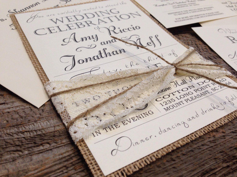 Rustic Wedding Invitation Set, Vintage Wedding Invitation, Lace ...