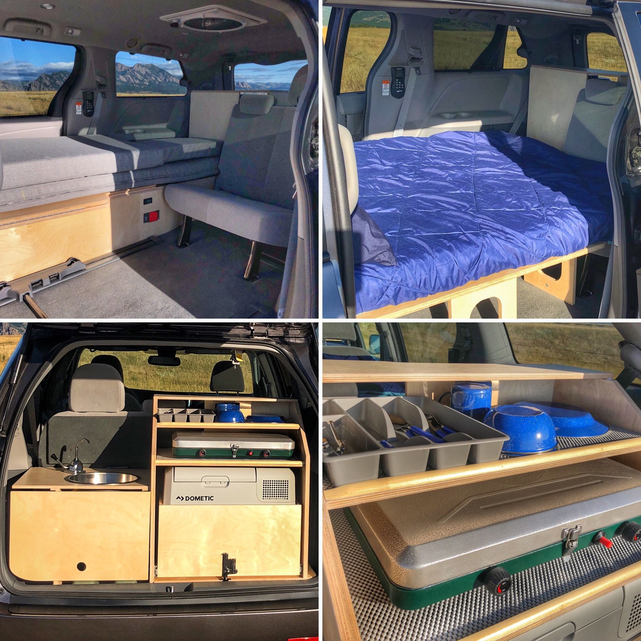 Toyota Sienna Standard Minivan Conversion With Refrigerator Fold Out Bed Mini Van Minivan Camper Conversion Camper Conversion