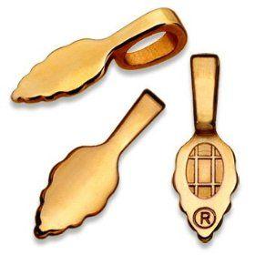 Aanraku Bails - 10 Large 18K Gold Plated. Single Oak Leaf Design. Glue on. Great for Making Dichroic, Glass & Wooden Tile...