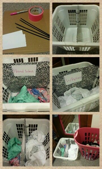 Easy Diy Laundry Basket Divider All You Need Is A Laundry Basket Cardboard Zip Ties Your Choice Of Duck Tape Diy Laundry Basket Diy Laundry Laundry Basket
