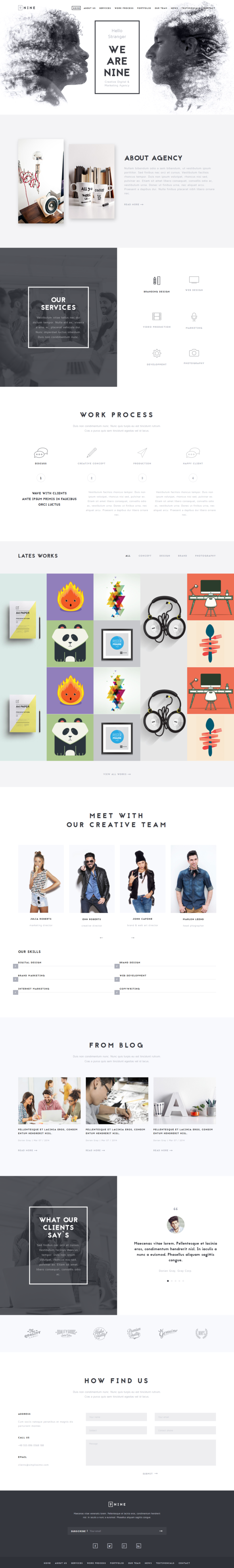 Agency - Unique One Page Template ~ Website Templates on Creative ...
