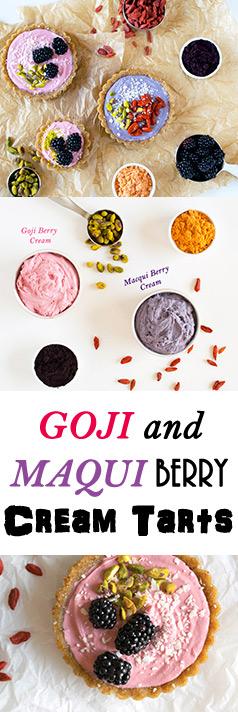 Raw, Vegan and Gluten-Free Superfood Tarts made with Goji Berry and Maqui Berry Cream. Yum!