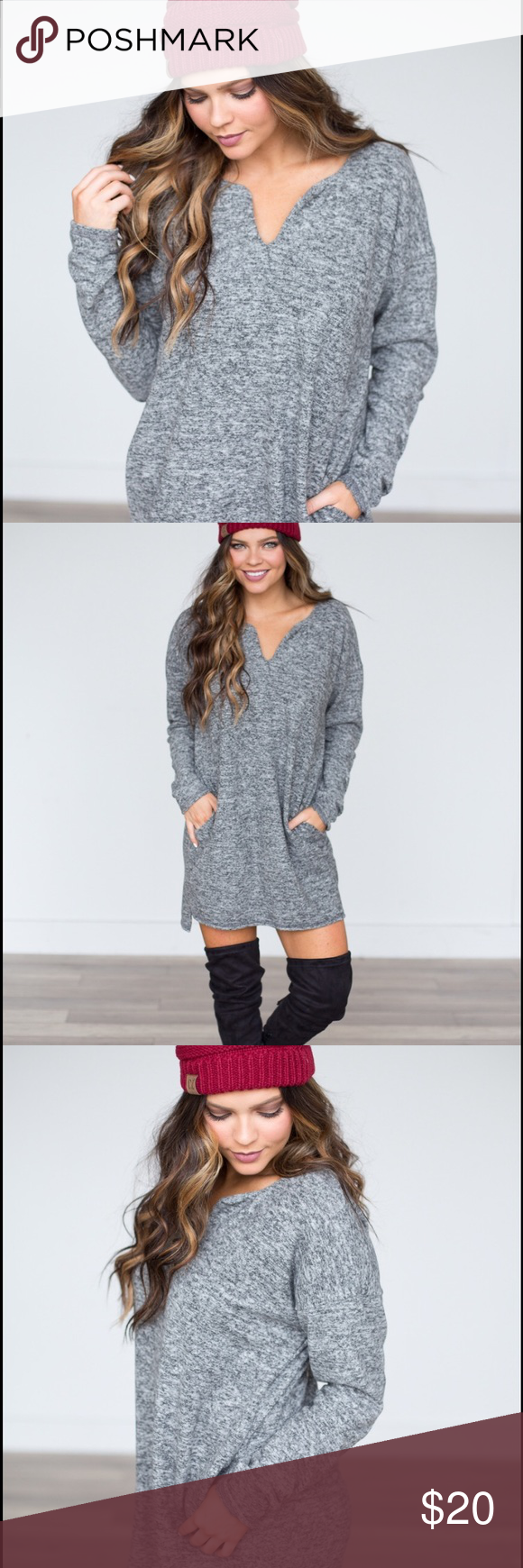 Soft Knit Sweater Dress- Heather Grey Cozy and chic! Dresses Midi