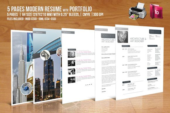 5 Pages Modern Resume with Portfolio Modern resume, Template and - resume 5 pages