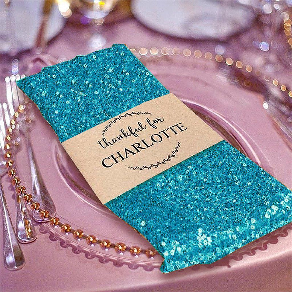 20 premium turquoise sequin napkin for wedding banquet party table