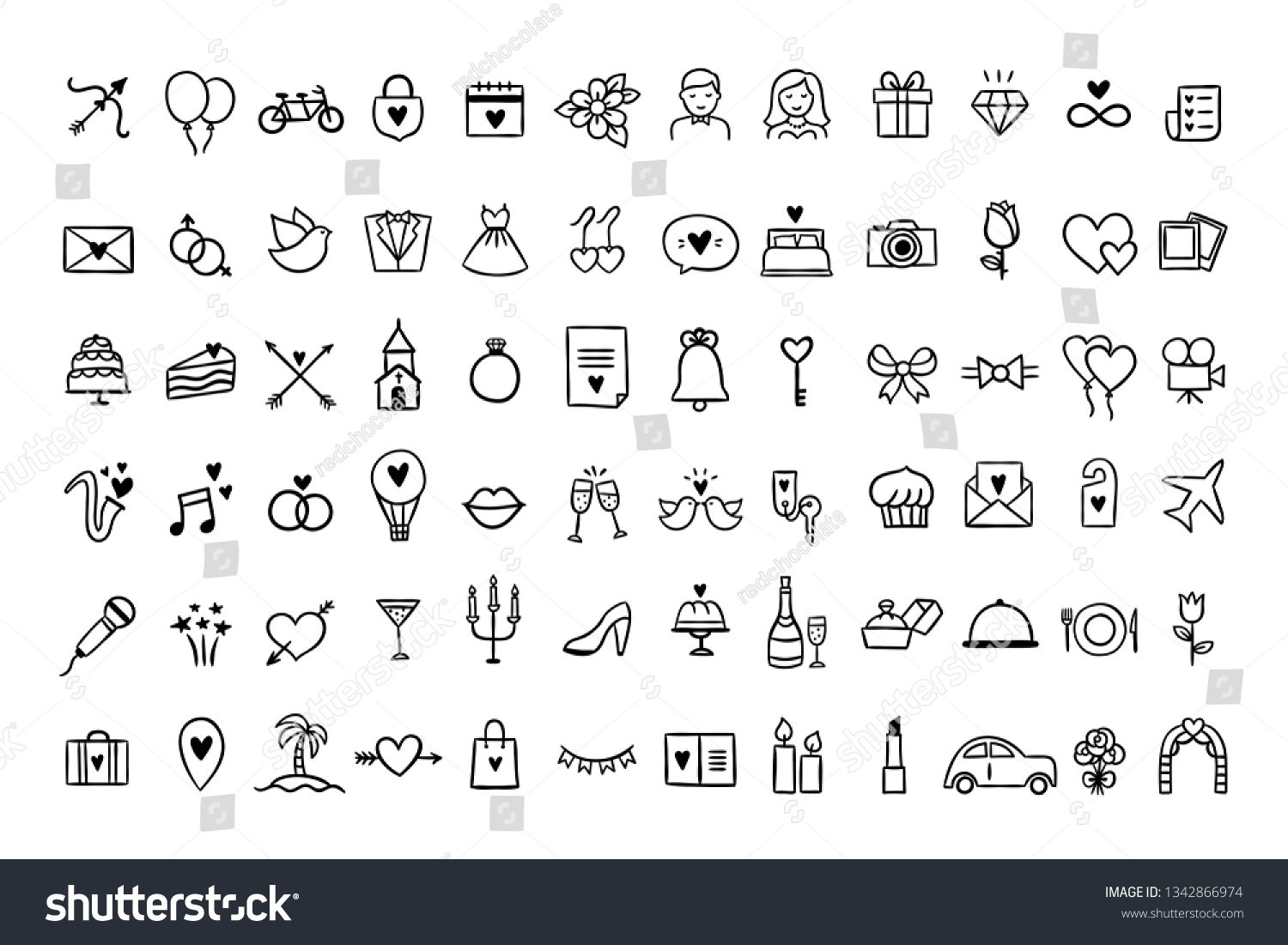 Wedding Icons Set Hand Drawn Vector Wedding Symbols And Signs On White Background Ad Sponsored Hand Drawn In 2020 Wedding Symbols Wedding Icon How To Draw Hands
