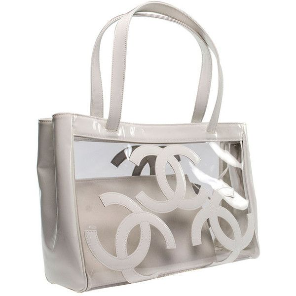 Chanel White Patent Clear Vinyl Tote 1 695 Liked On Polyvore Featuring Bags