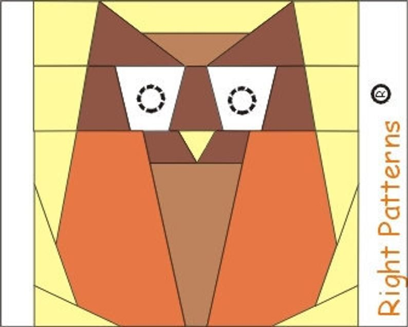 INSTANT DOWNLOAD Owl PDF quilt paper pieced block Sewing Pattern
