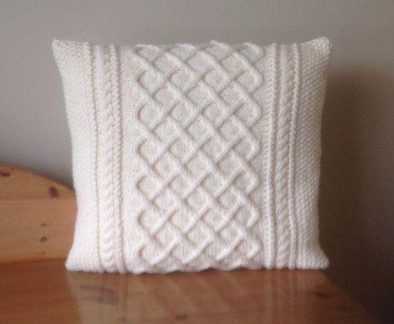 Photo of Cushion Cover, Cream Aran Cushion Cover, Hand Knitted Cushion Cover, Irish Hand …