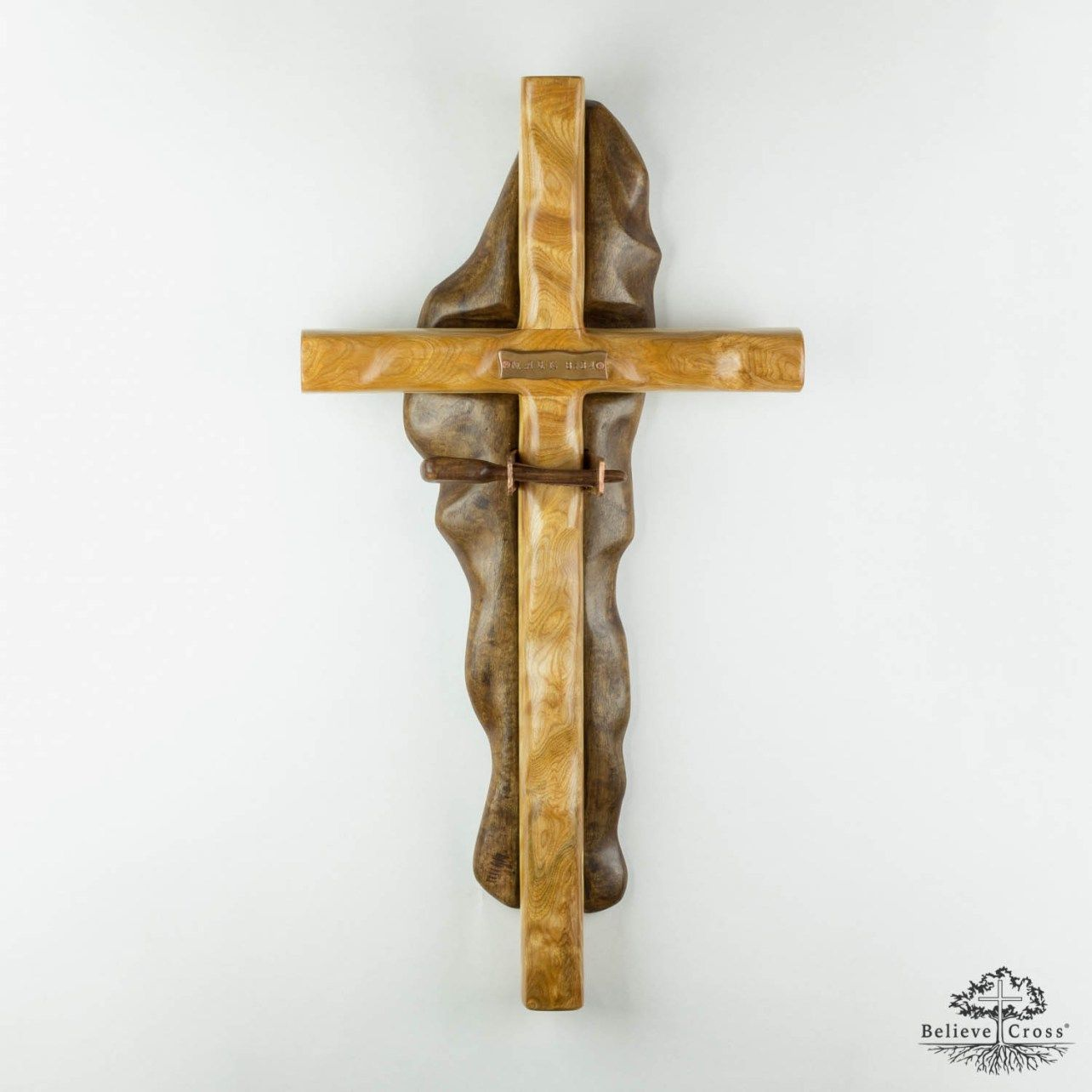 Believe Cross Wall Leather Pin