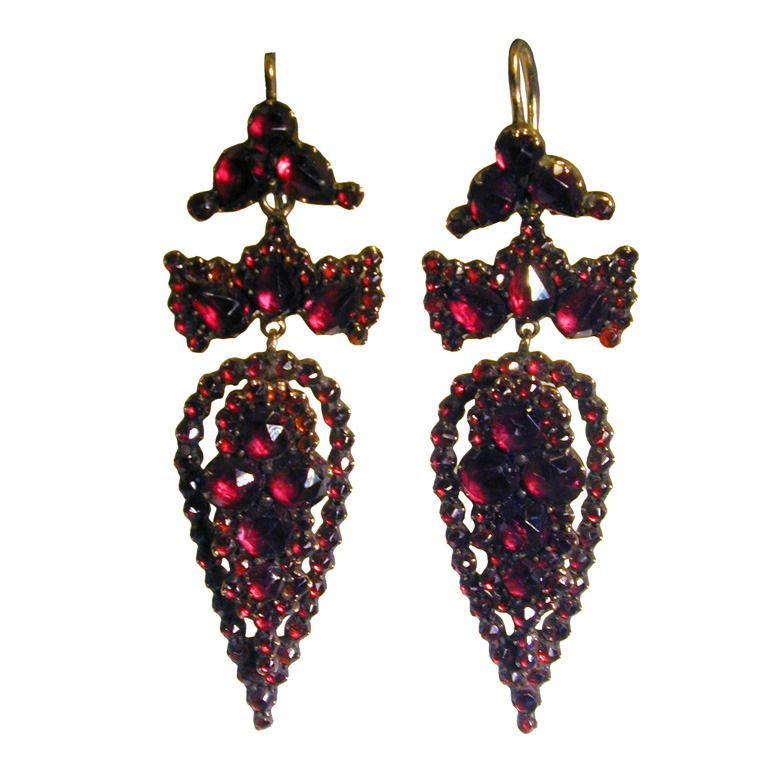 Vintage Garnet Antique Warrior Earrings