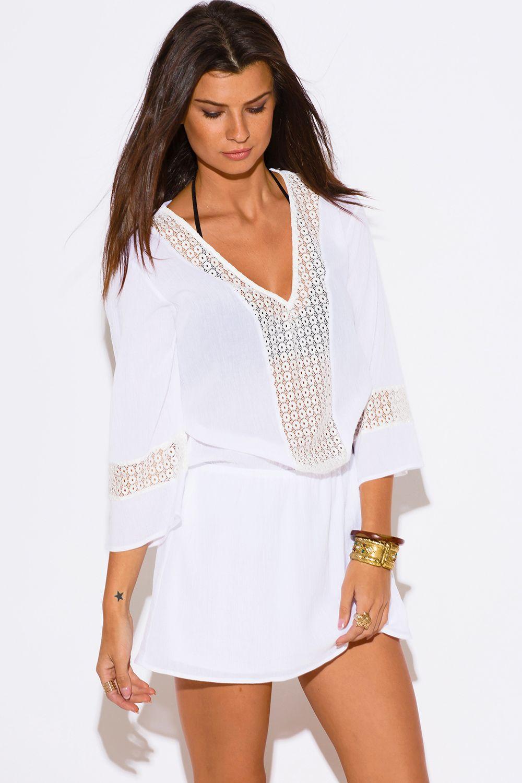 16aad7dc19 PRIVATE ISLAND | all white cotton gauze crochet lace trim bell sleeve boho beach  cover up tunic mini dress - 1015store.com