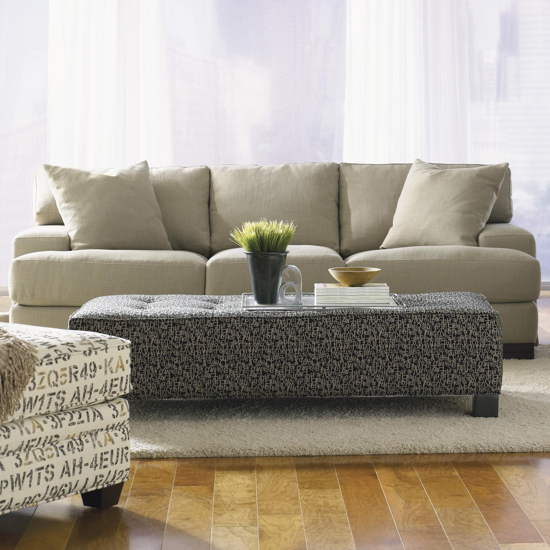 Burton Modern Sofa With Low Track Arms And Exposed Wood