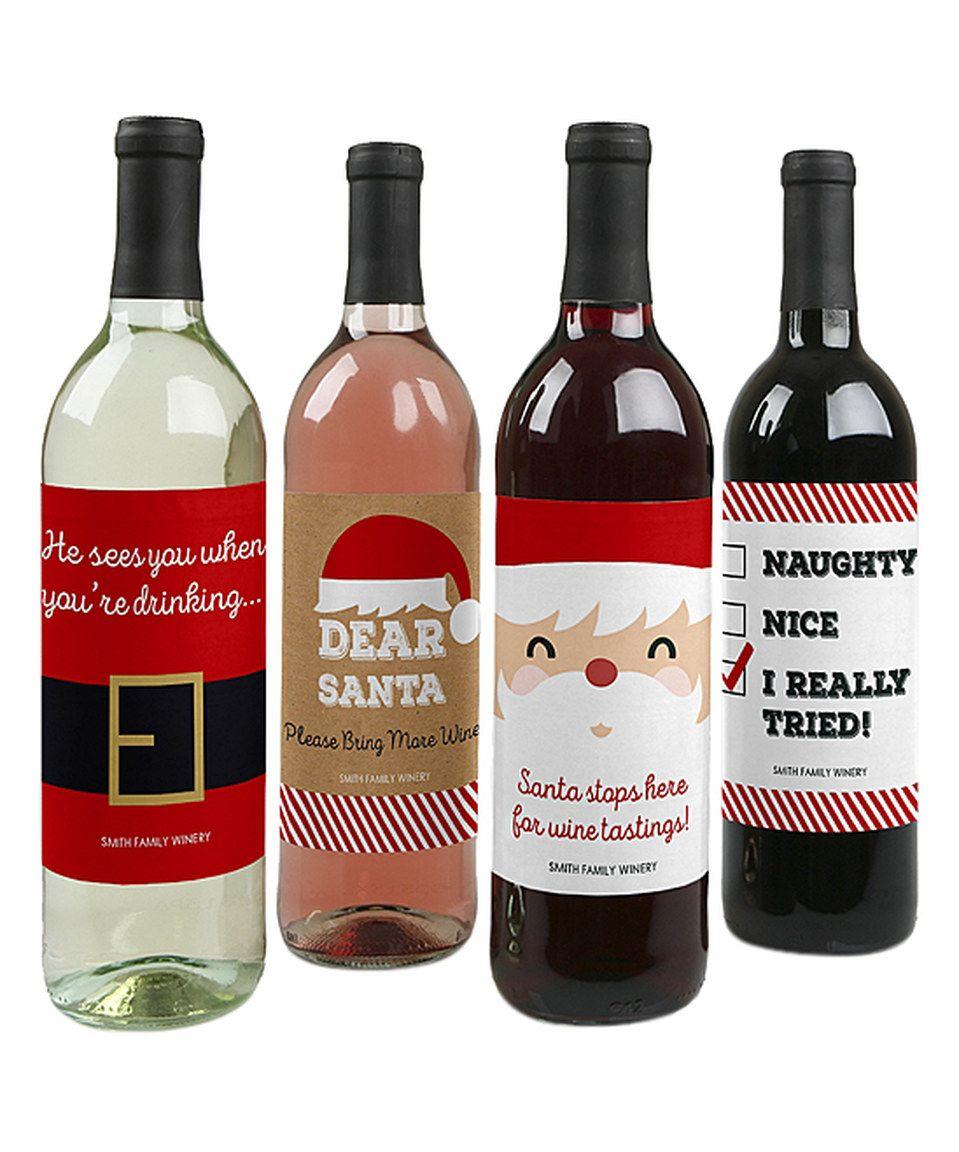 Diy Wine Bottle Labels Big Dot Of Happiness Funny Santa Wine Bottle Label Set Of Eight