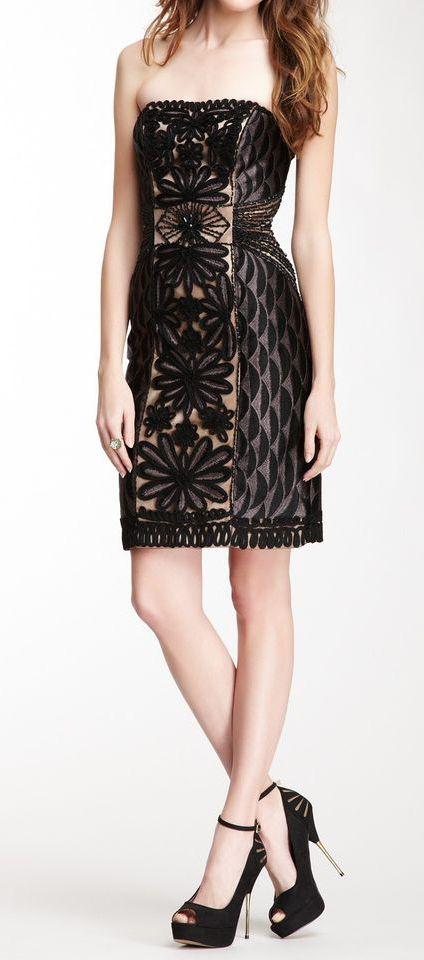 Sue Wong Strapless Contrast Embellished Trim Short Dress