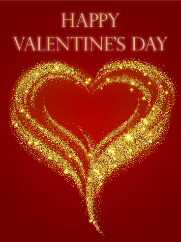7916e15d3ff4 Golden Glitter Heart Happy Valentine's Day Card: Make this Valentine's Day  shimmer! This gorgeous Valentine's Day card is full of golden, glittery  goodness ...
