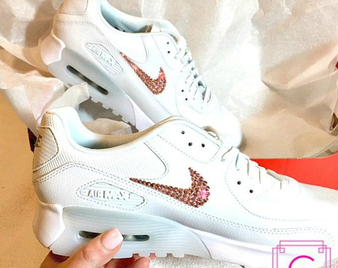 Women s Crystahhled - Bling - Nike Swarovski- Custom Shoes Air Max 90 in  White w  Swarovski® Rose Gold Bling - Perfect Gift - Bling Air Max a410f0d87