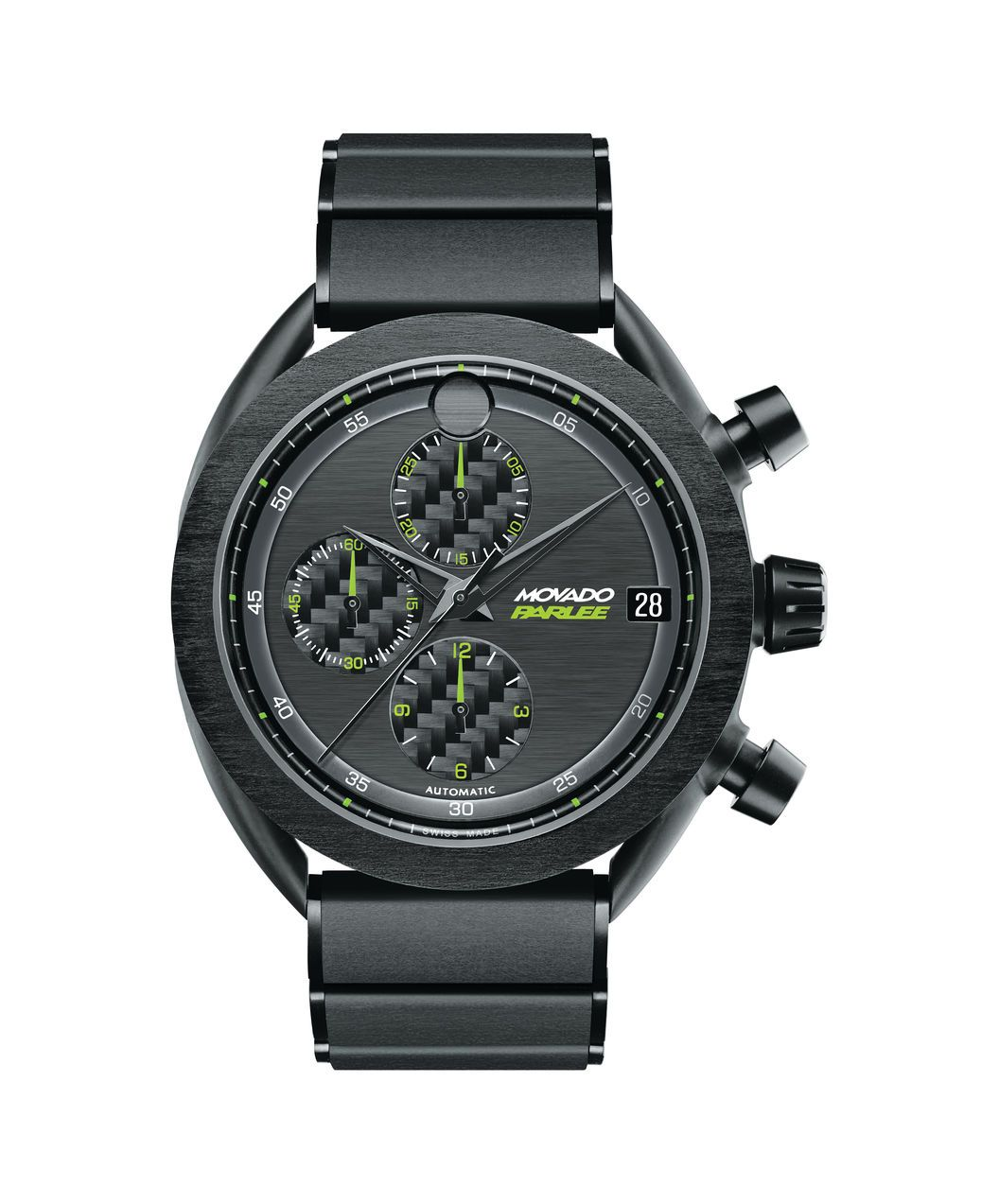 Men's Movado Parlee automatic chronograph, individually numbered limited edition, 46 mm black PVD-finished titanium case with unidirectional carbon fiber bezel, black unidirectional carbon fiber dial with 3 carbon fiber subdials, minute reflector, green accents, date; black unidirectional carbon fiber/PVD-finished titanium push-button deployment bracelet.Model: 0606852!Price: $8480.99