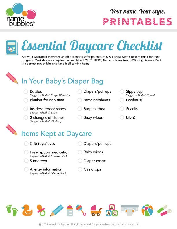 What to pack in your babyu0027s daycare bag A free printable - printable office supply list