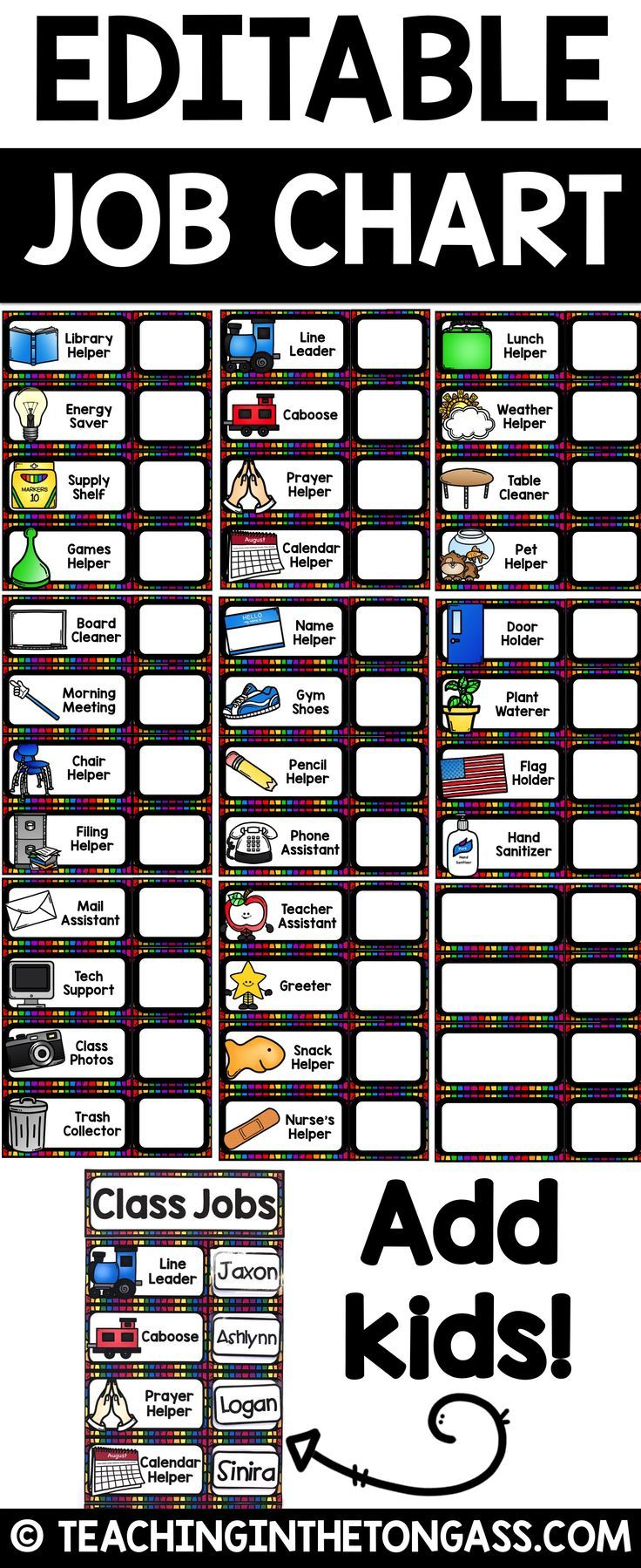 Classroom Design Description ~ Classroom jobs editable teacher life pinterest