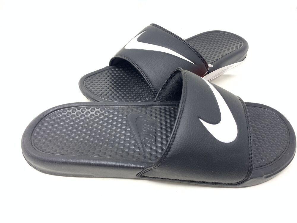 Nike Men's Benassi Swoosh Slides Black/White Size:11 ...