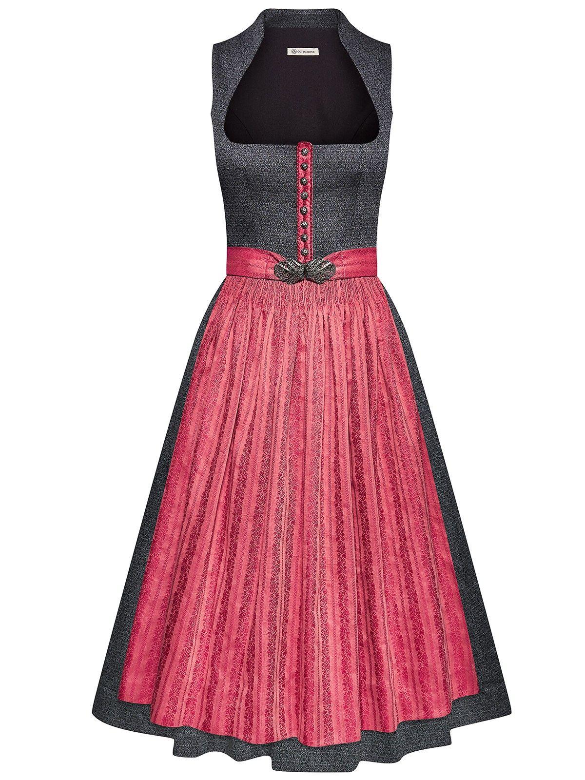 Berwin /& Wolff Damen Kleid Maxi-Dirndl Bluse Schürze 3-teilig
