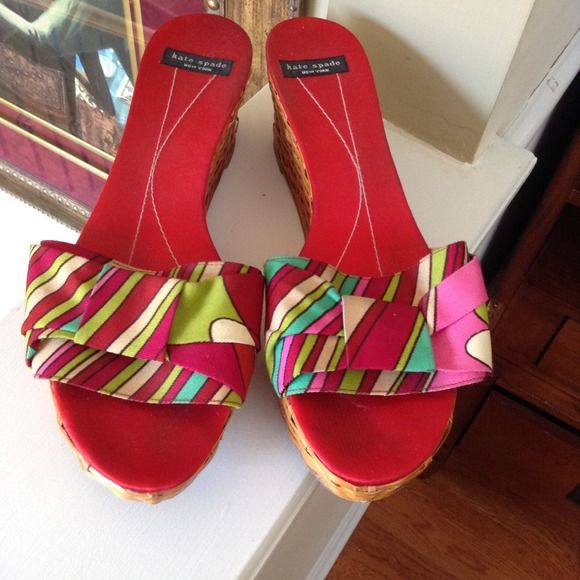 "Well loved Kate. spade sandals no trades Red multi color sandals with wicker 3"" heels. Worn but still in good condition. Shows some wear on one heel as shown in photo 3 not noticeable when wearing. kate spade Shoes Sandals"