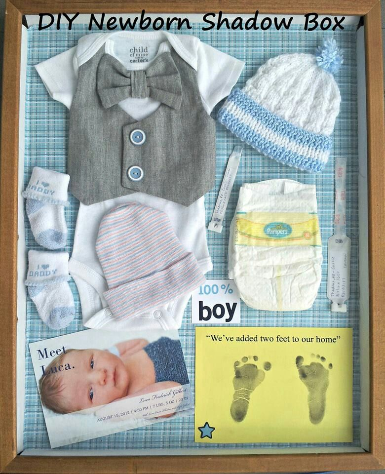 Shadow box for newborn... The only thing missing is the stick mom peed on! http://www.mybigdaycompany.com/baby-showers.html