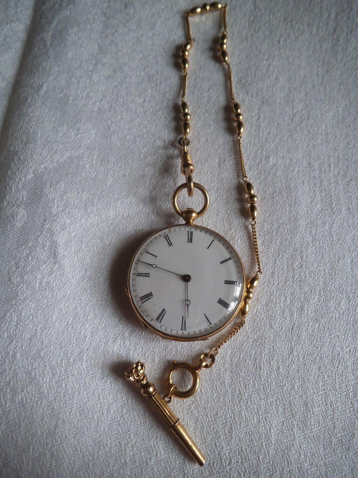 montre de gousset ancienne en or sa clef et cha ne gileti re en or in bijoux montres montres. Black Bedroom Furniture Sets. Home Design Ideas