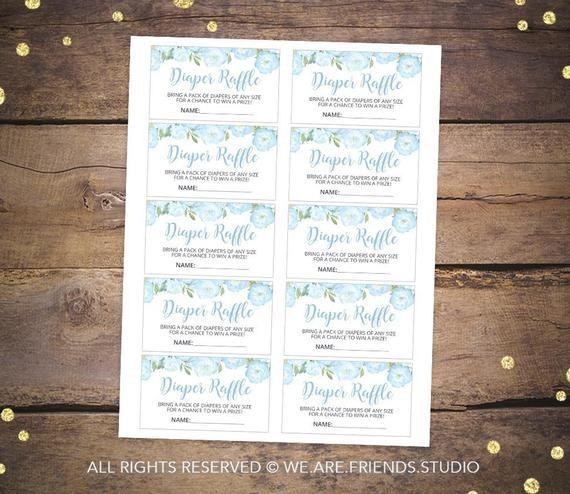 Printable Baby Shower Games Printable - Diaper Raffle Game - Blue Baby Shower Games - Blue Peony Bab #bluepeonies