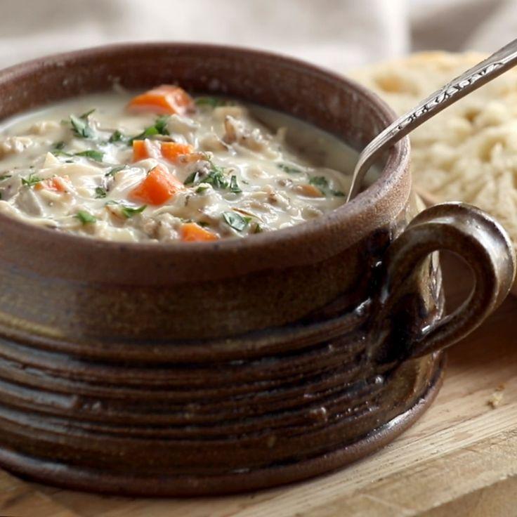 Crockpot Chicken Wild Rice Soup - Pinch of Yum