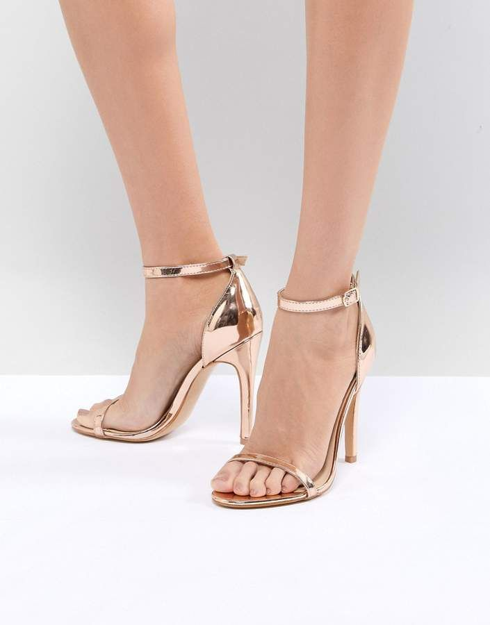 Truffle Collection Ankle Strap Stiletto High Heel Peep Toe Sandals Shoes White
