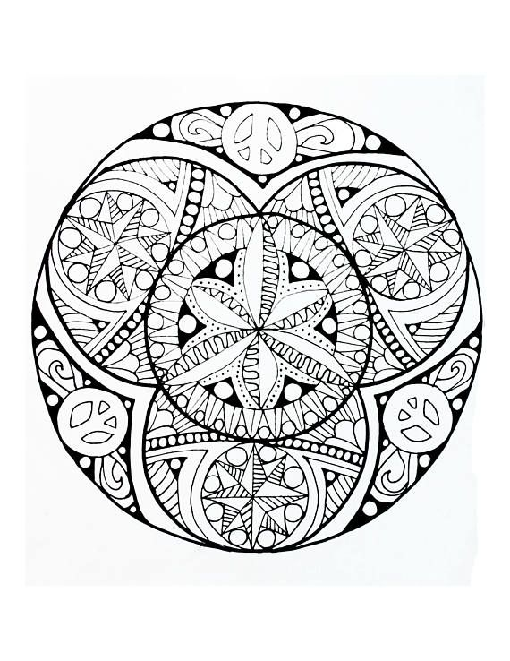 Adult Coloring Mandala Hippie Floral Coloring Page For Adult