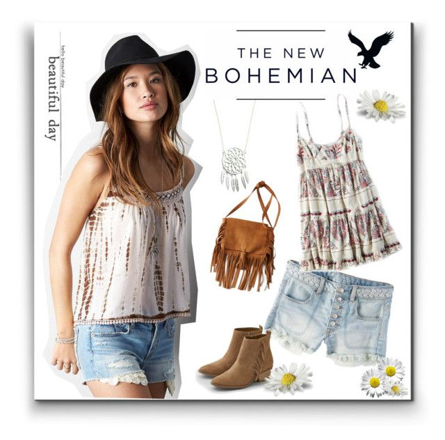 """The New Bohemian with American Eagle Outfitters: Contest Entry"" by welovelamps ❤ liked on Polyvore featuring American Eagle Outfitters and aeostyle"