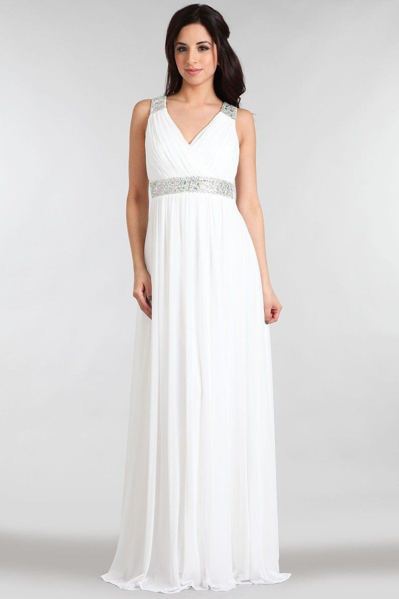 a0d254f645 Ivory Grecian Gown with Beaded Waist