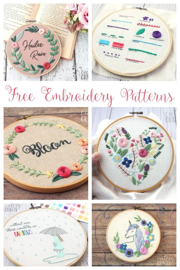 20+ Free Embroidery Patterns #floralembroidery