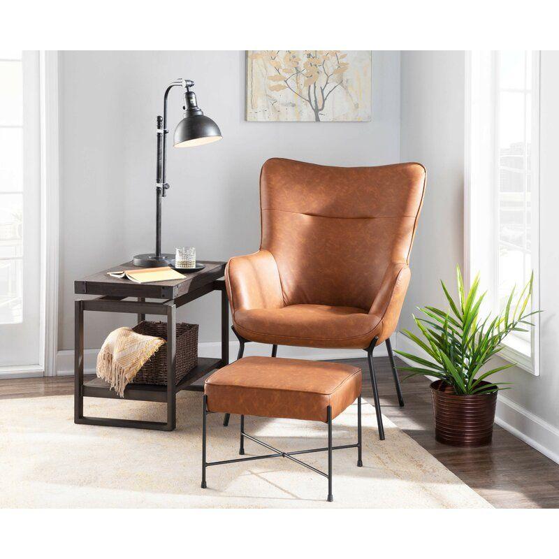 Wrought Studio Tedeschi Lounge Chair And Ottoman Reviews Wayfair Chair And Ottoman Set Living Room Chairs Lounge Chairs Living Room Brown leather chair with ottoman