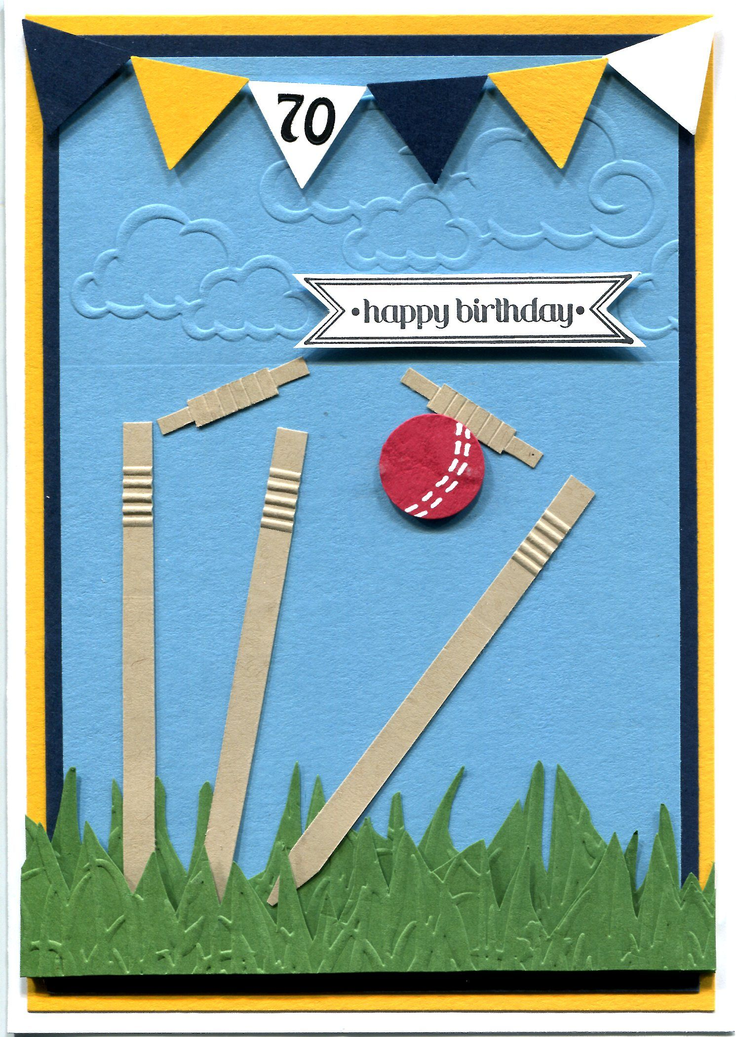 Handmade Card Cricket themed 70th birthday card made especially