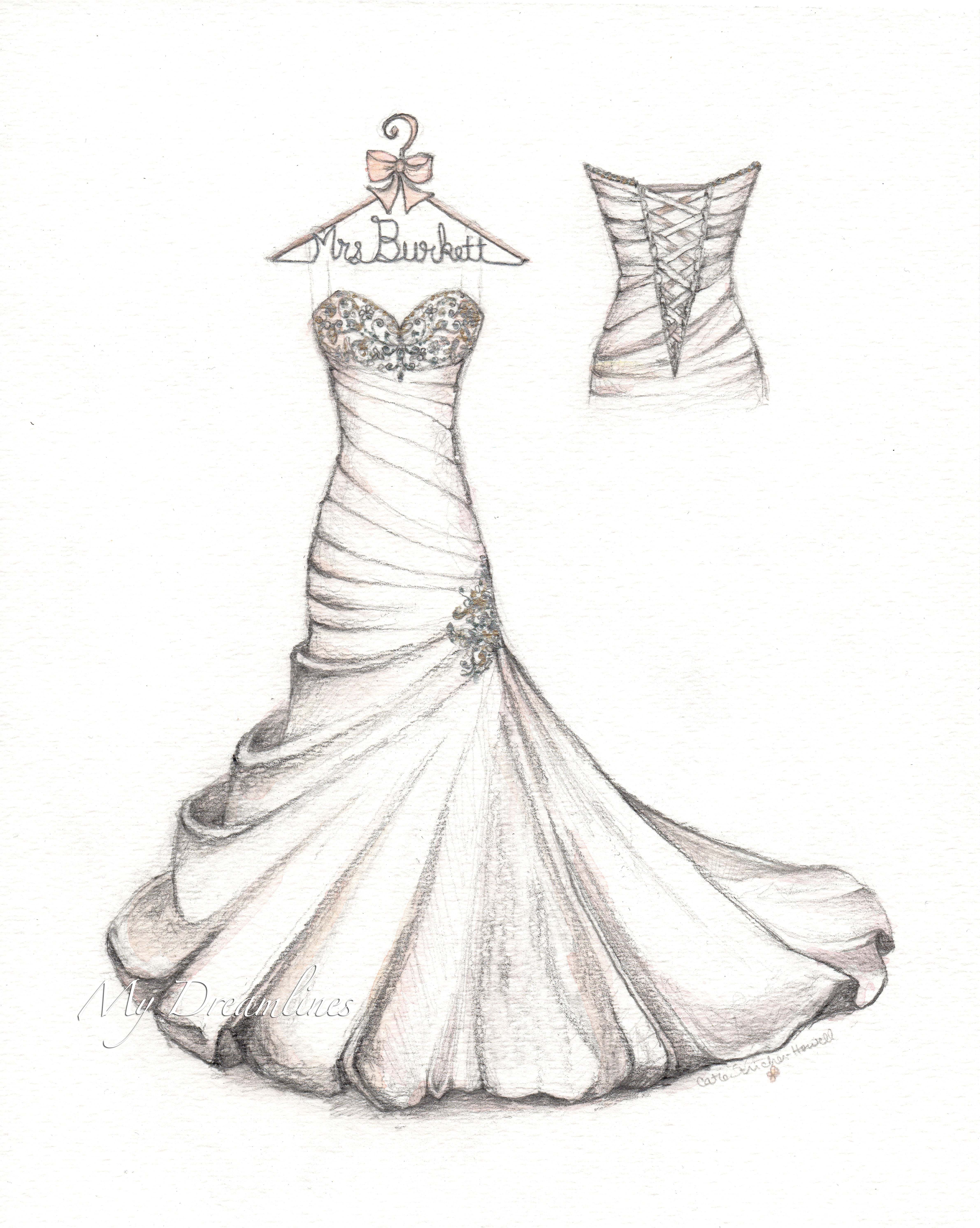 85e142e0b87 Wedding dress sketch for your first anniversary. Satin gown with bubble hem  and crystals. Personalized hanger and small back. Sketch by Catie ...