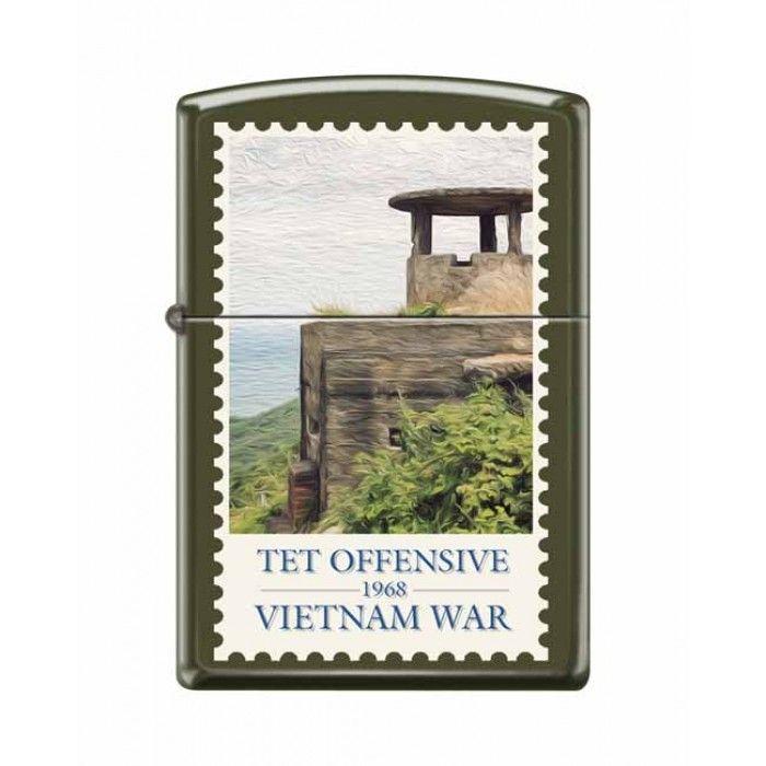 Zippo Lighter: Vietnam War, Tet Offensive - Green Matte