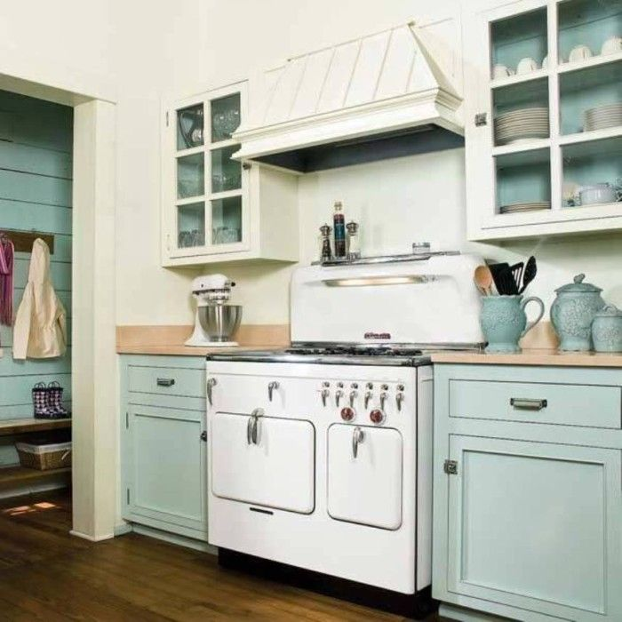 kitchen cabinet painting ideas with combination color mint blue and white - Kitchen Cabinet Painting Ideas