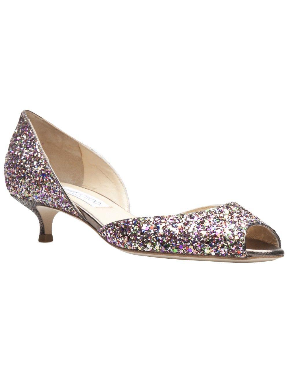 Jimmy Choo 'Lyon' Glitter Kitten Heel $550 http://roanshop.com ...
