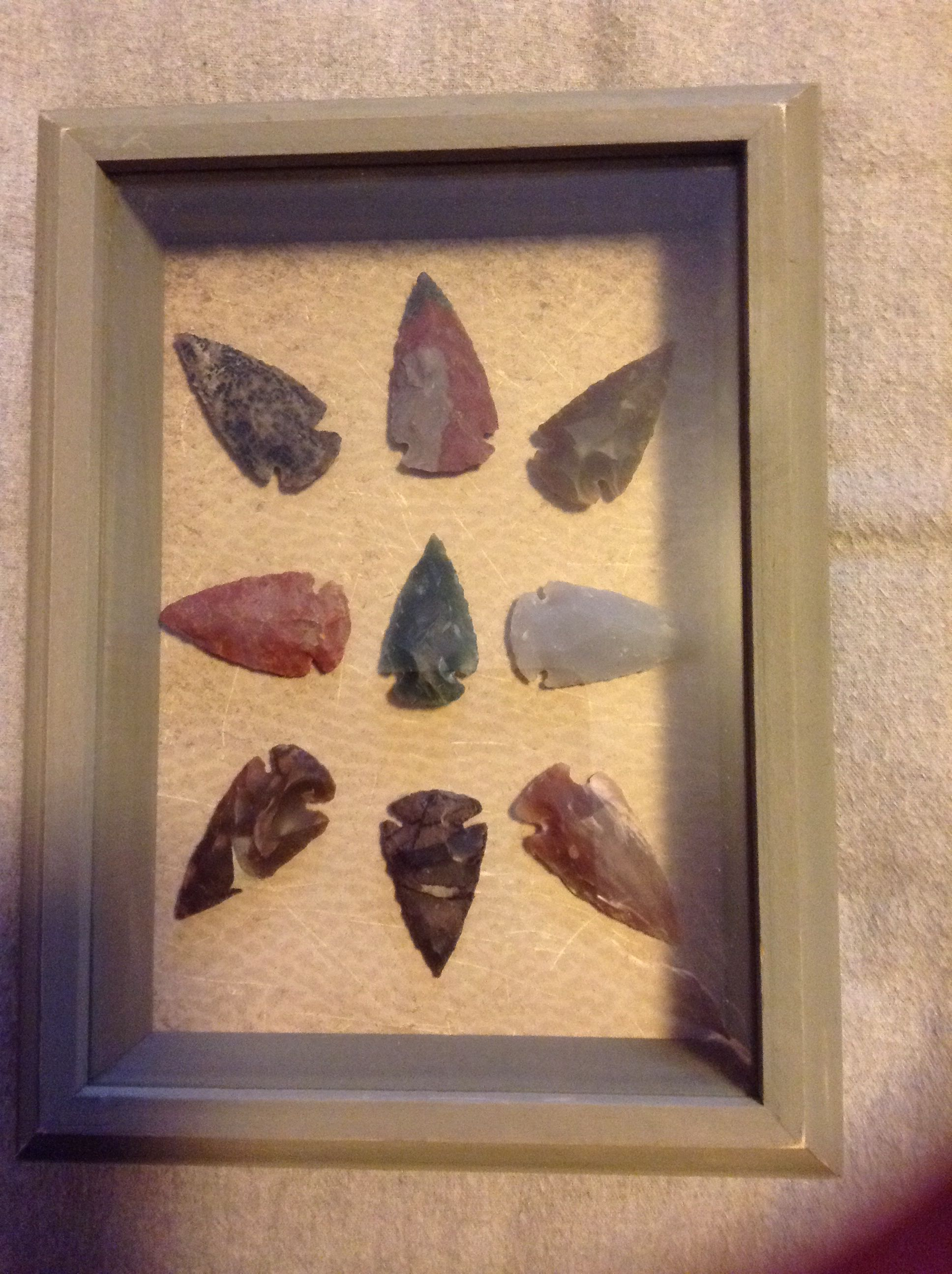 Arrowheads I Bought I Put Them In A Shadow Box I Bought From Hobby Lobby This Is Going In My Wall Art Colle Diy Shadow Box Native American Tools Shadow Box
