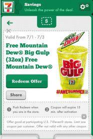 7ELEVEN Reminder FREE Mountain Dew Big Gulp (Mobile