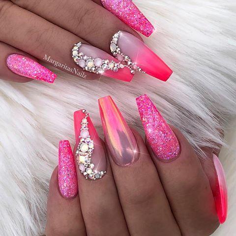 neon pink ombré coffin nails bling chrome glitter nail art