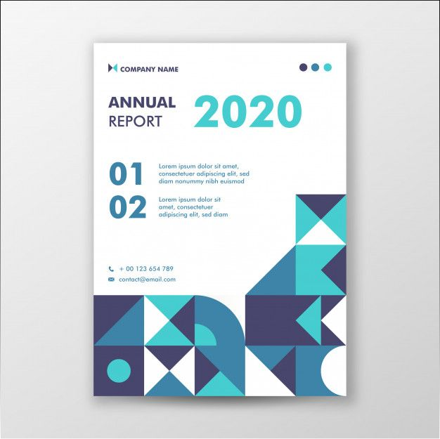 Abstract Geometry Annual Report Cover Template With Green Color