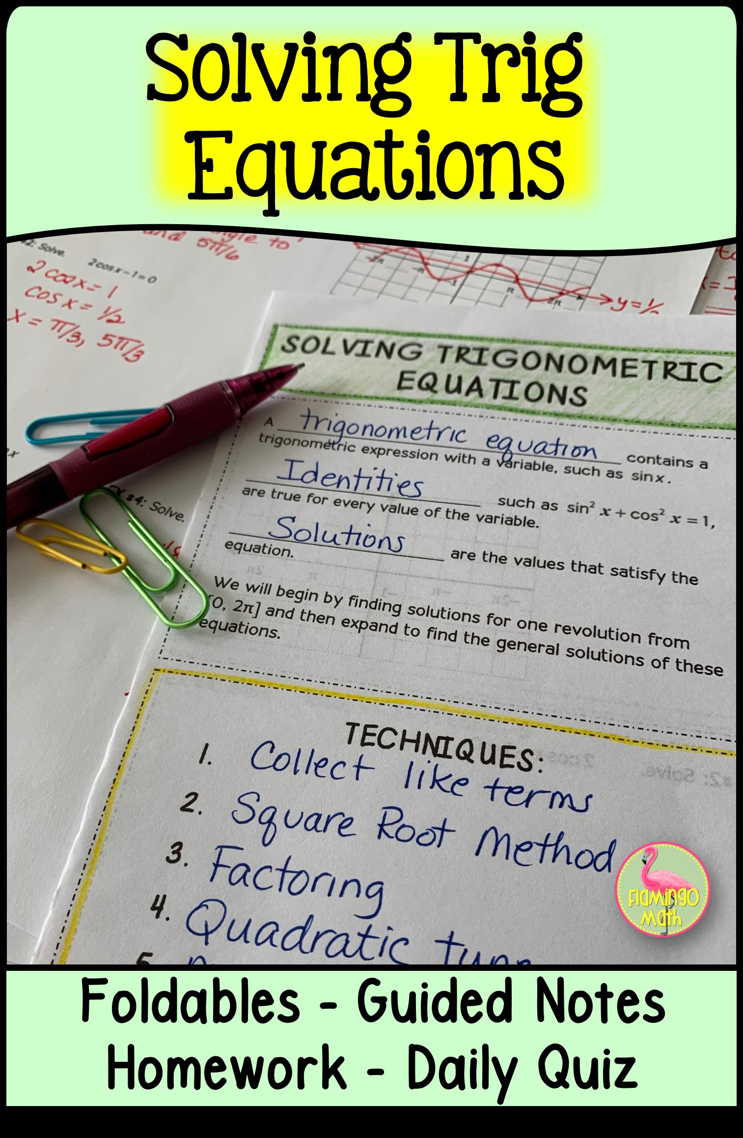 Solving Trigonometric Equations Precalculus