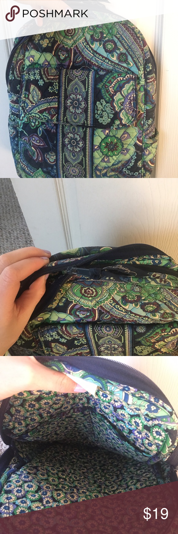 Vera Bradley bag Has signs of wear faded a little bit and the zipper is broke but can be easily fixed. Very nice bag. Vera Bradley Bags