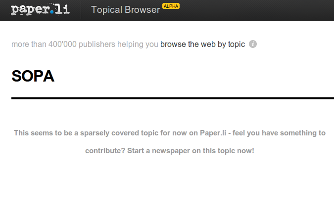Paper.li picked an awkward day to launch their topic search tool.