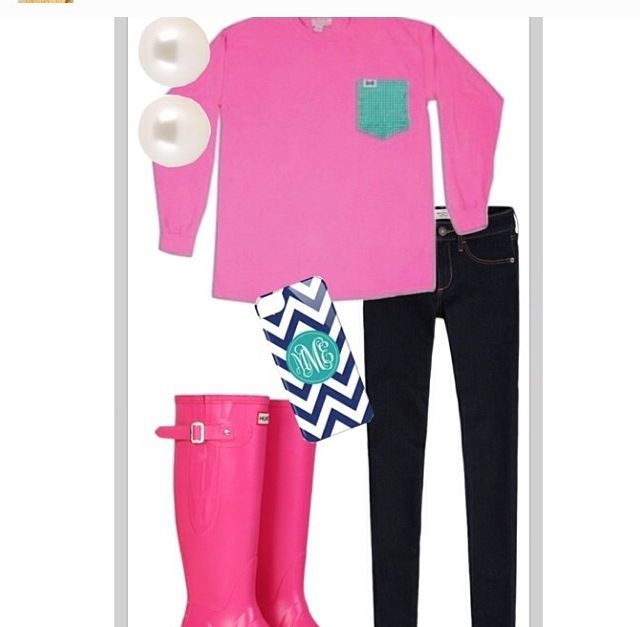 Preppy rainy day outfit